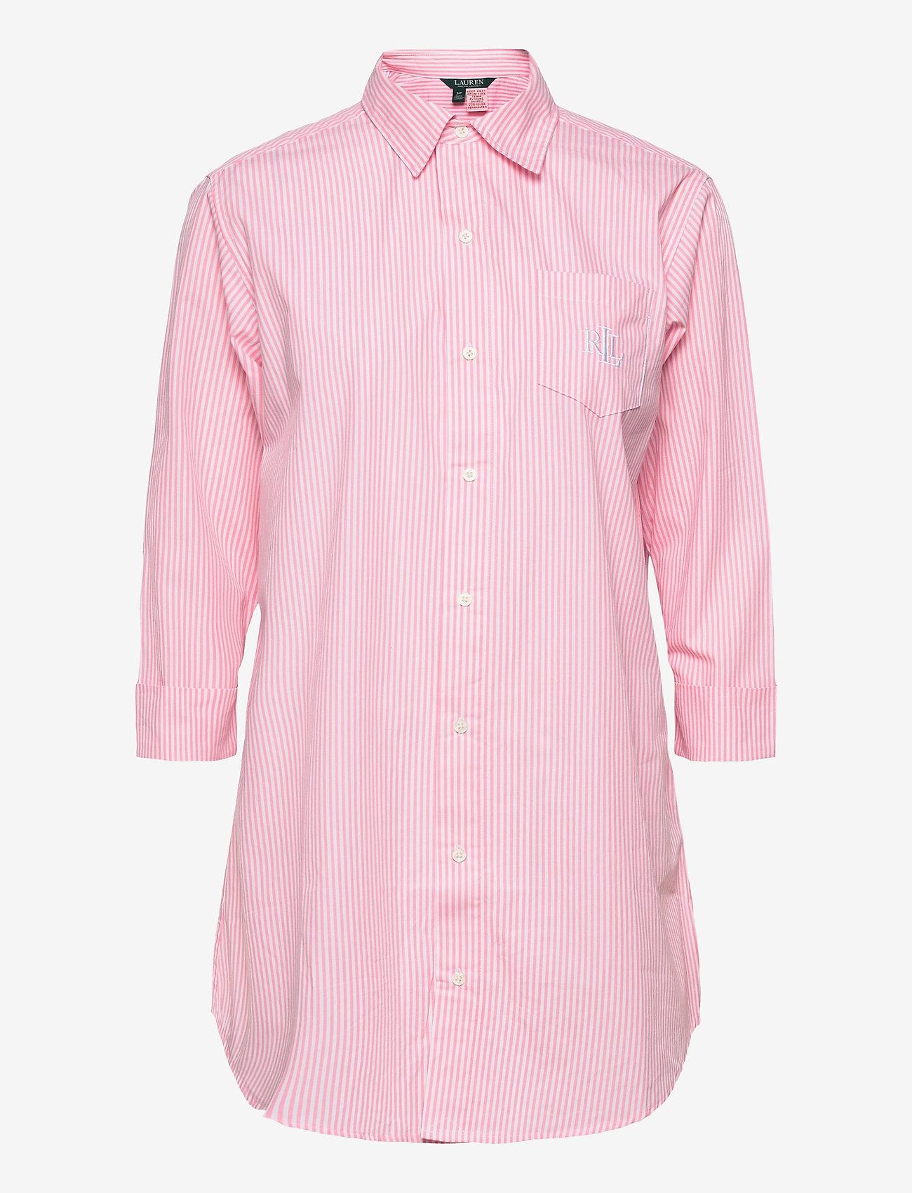 Lauren Ralph Lauren Homewear - LRL HERITAGE ESS. 3/4 SL SLEEPSHIRT - overdele - pink/white stripe - 0