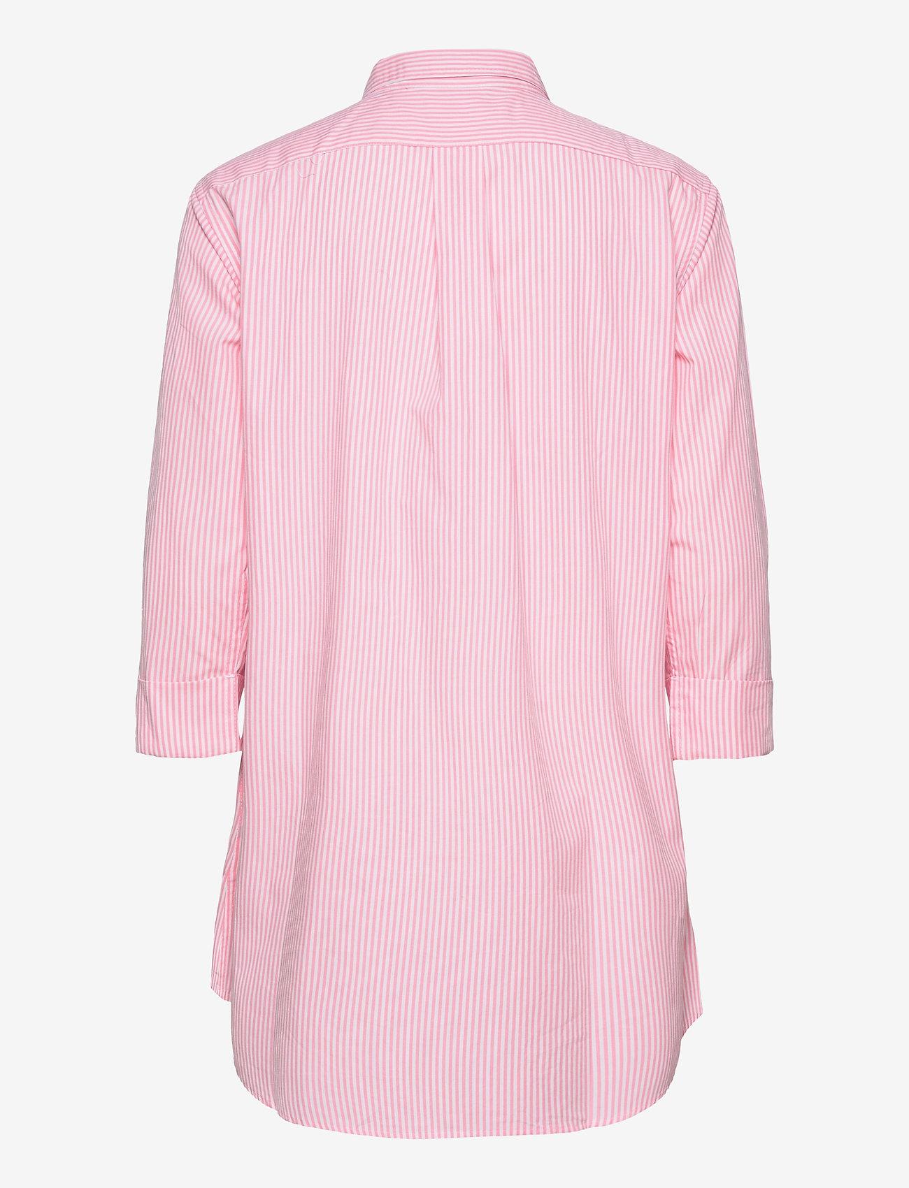 Lauren Ralph Lauren Homewear - LRL HERITAGE ESS. 3/4 SL SLEEPSHIRT - overdele - pink/white stripe - 1