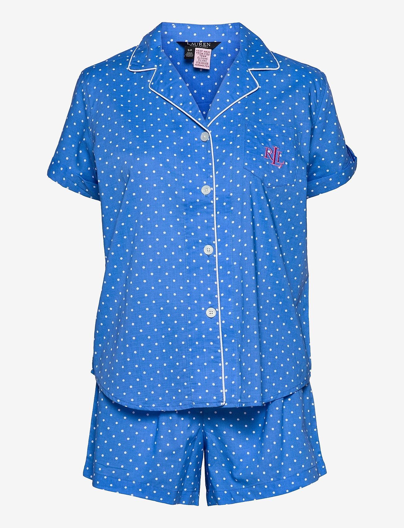 Lauren Ralph Lauren Homewear - LRL NOTCH COLLAR PJ BOXER SET S/SL - pyjamas - blue dot - 0