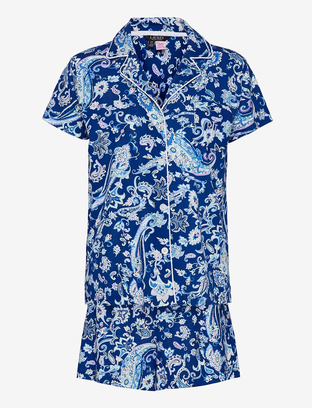 Lauren Ralph Lauren Homewear - LRL NOTCH COLLAR PJ BOXER SET S/SL - pyjamas - blue paisley - 0
