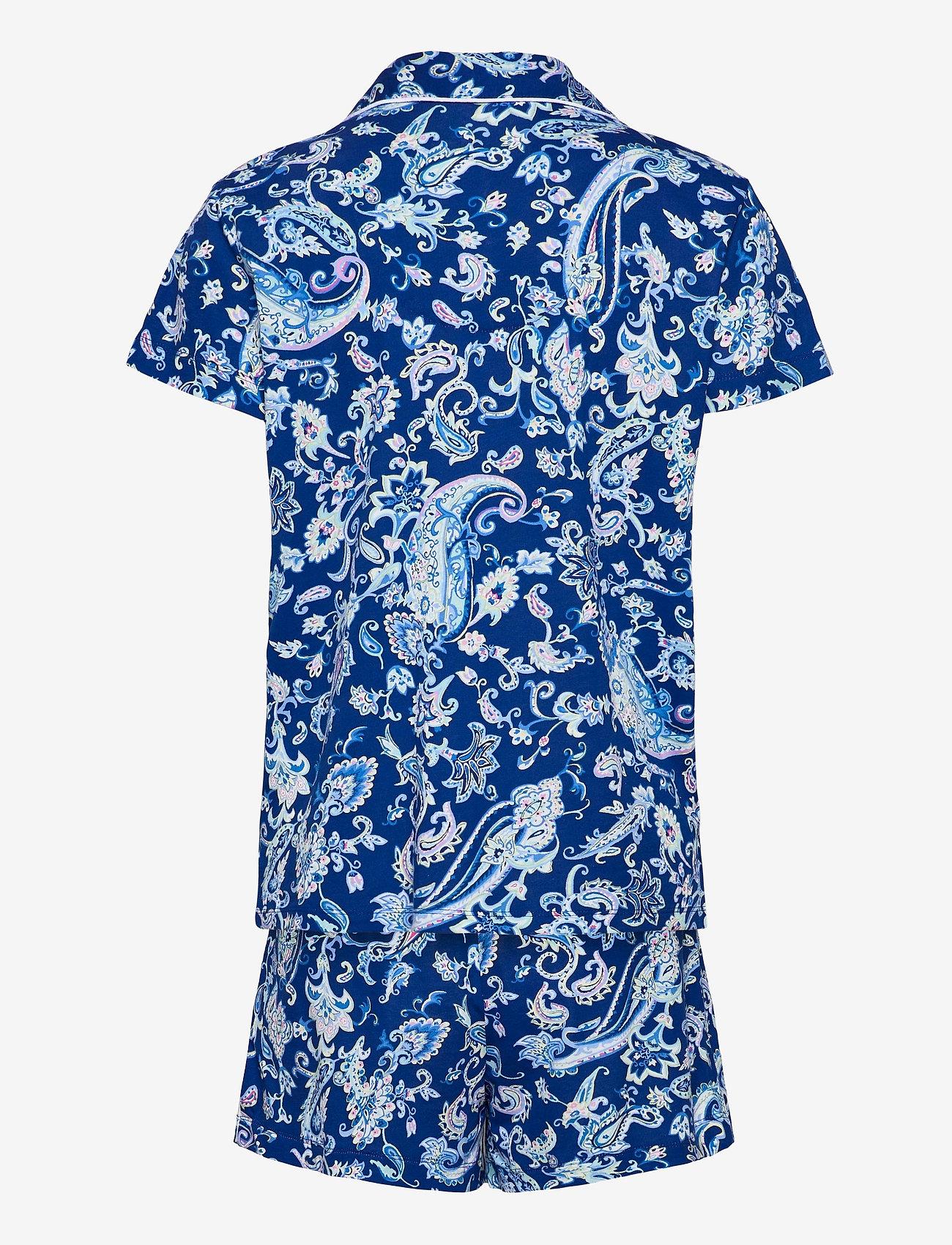Lauren Ralph Lauren Homewear - LRL NOTCH COLLAR PJ BOXER SET S/SL - pyjamas - blue paisley - 1