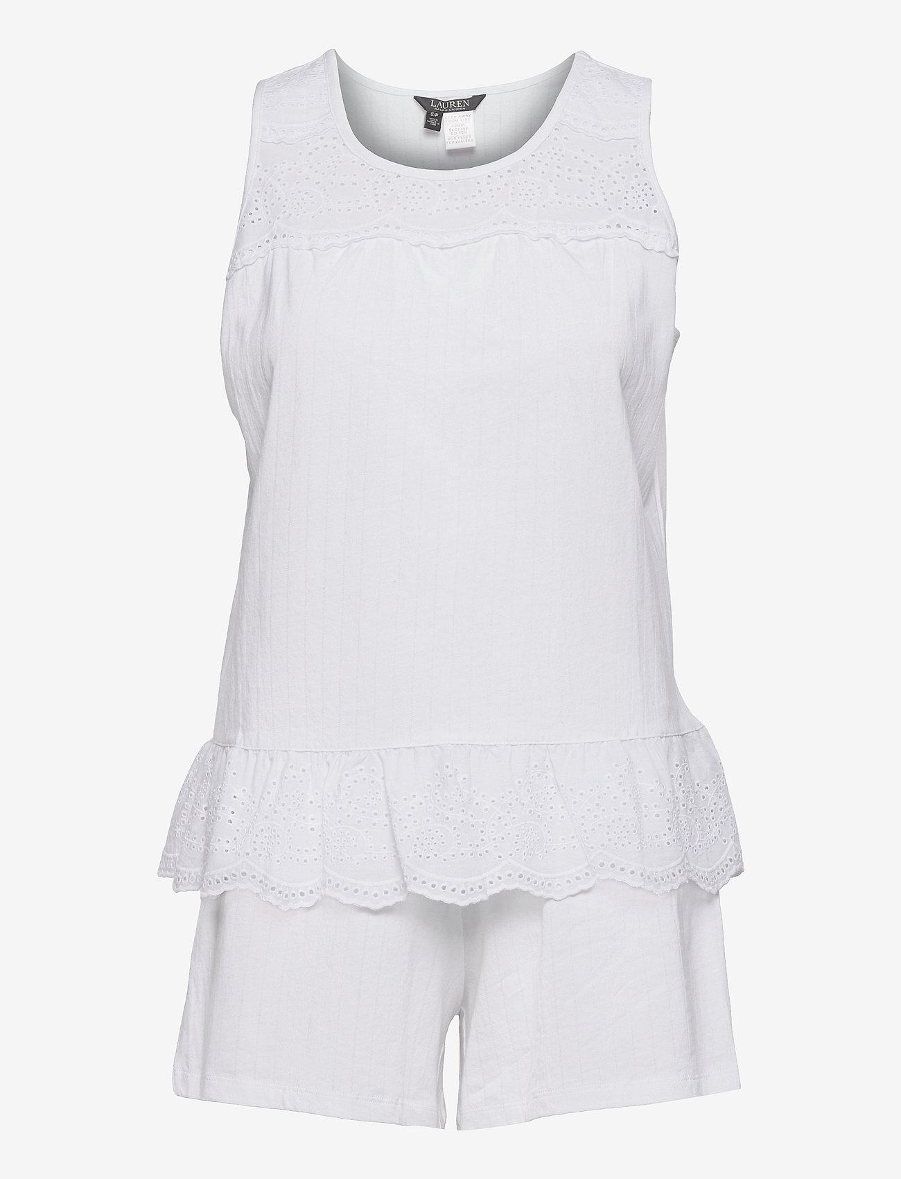 Lauren Ralph Lauren Homewear - LRL SLVLESS SPLIT NK EYLET BOXER PJ SET - pyjamas - white - 0