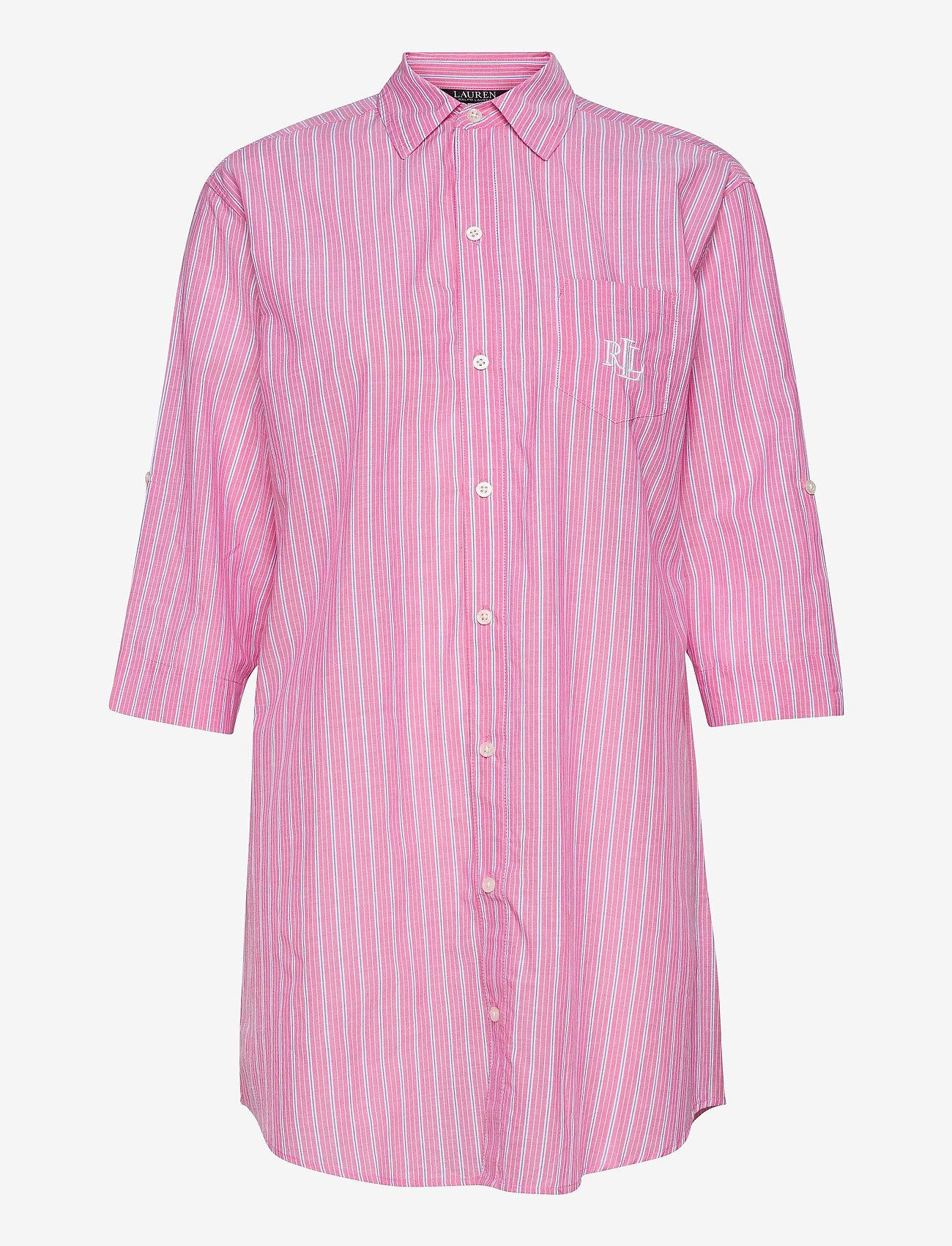Lauren Ralph Lauren Homewear - LRL ROLL TAB HIS SLEEPSHIRT - natkjoler - pink stripe - 0