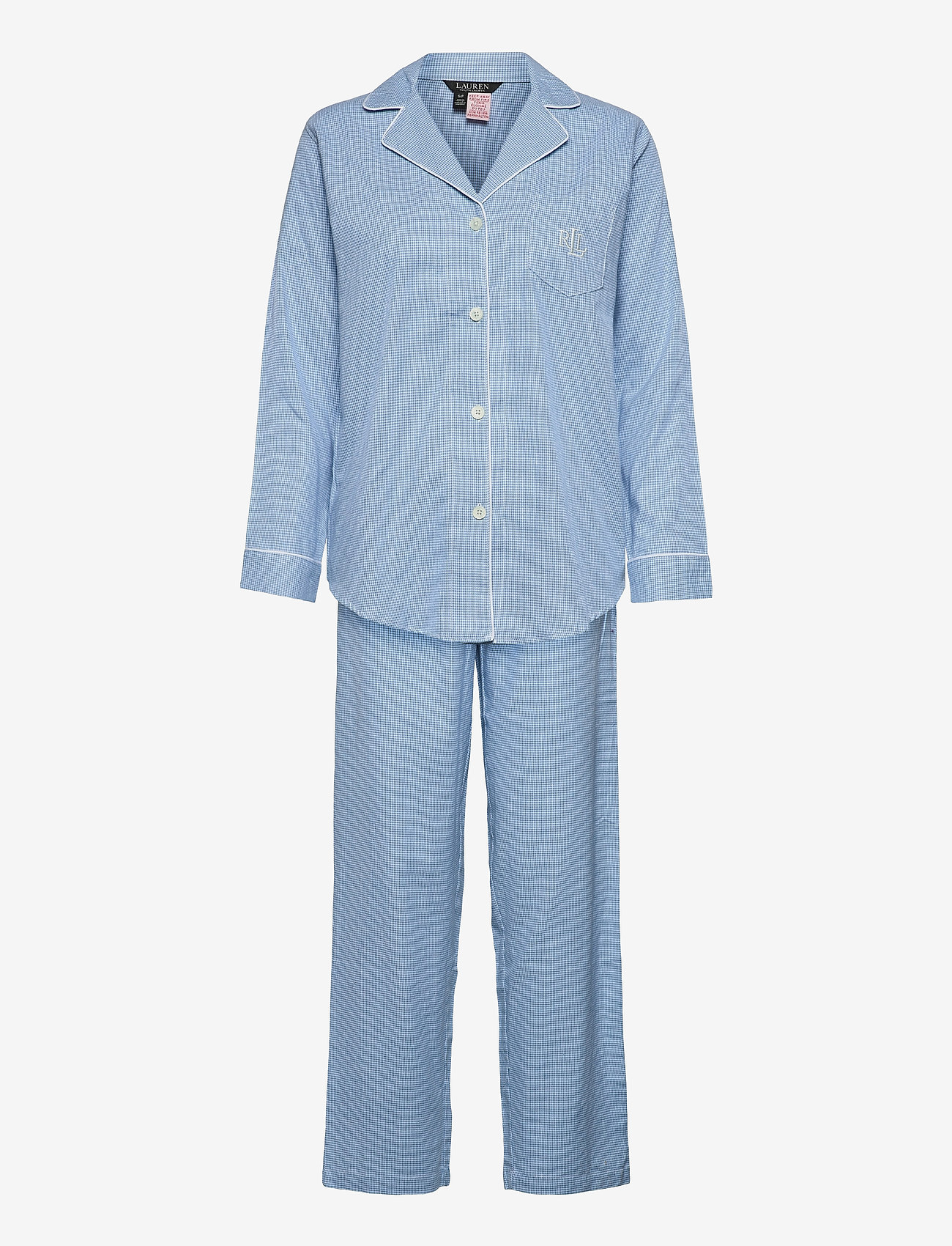 Lauren Ralph Lauren Homewear - LRL   NOTCH COLLAR LONG PANT PJ SET - pyjama''s - blue/white - 0
