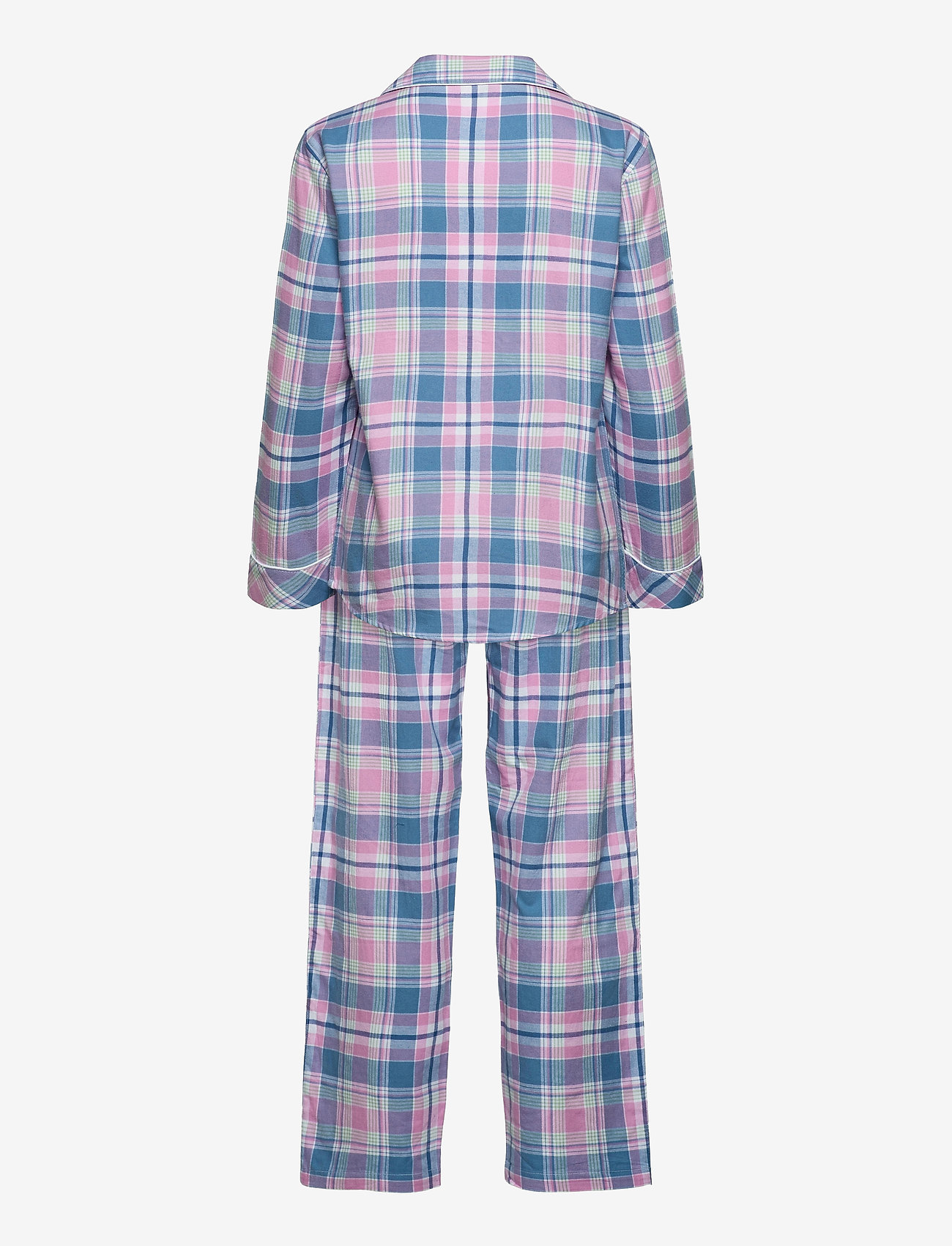 Lauren Ralph Lauren Homewear - LRL   NOTCH COLLAR LONG PANT PJ SET - pyjamas - pink plaid - 1