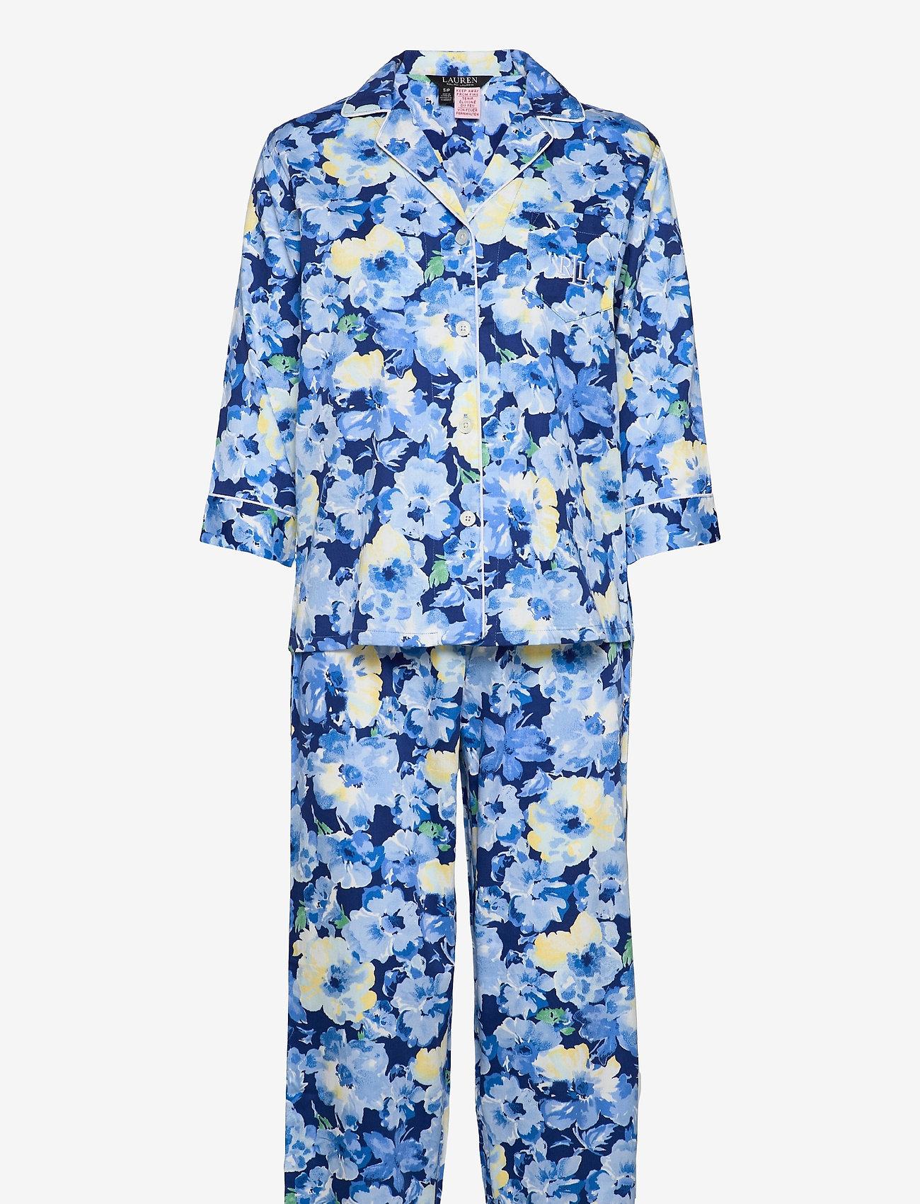 Lauren Ralph Lauren Homewear - LRL NOTCH COLLAR PJ SET 3/4 SL - pyjamas - blue floral - 0