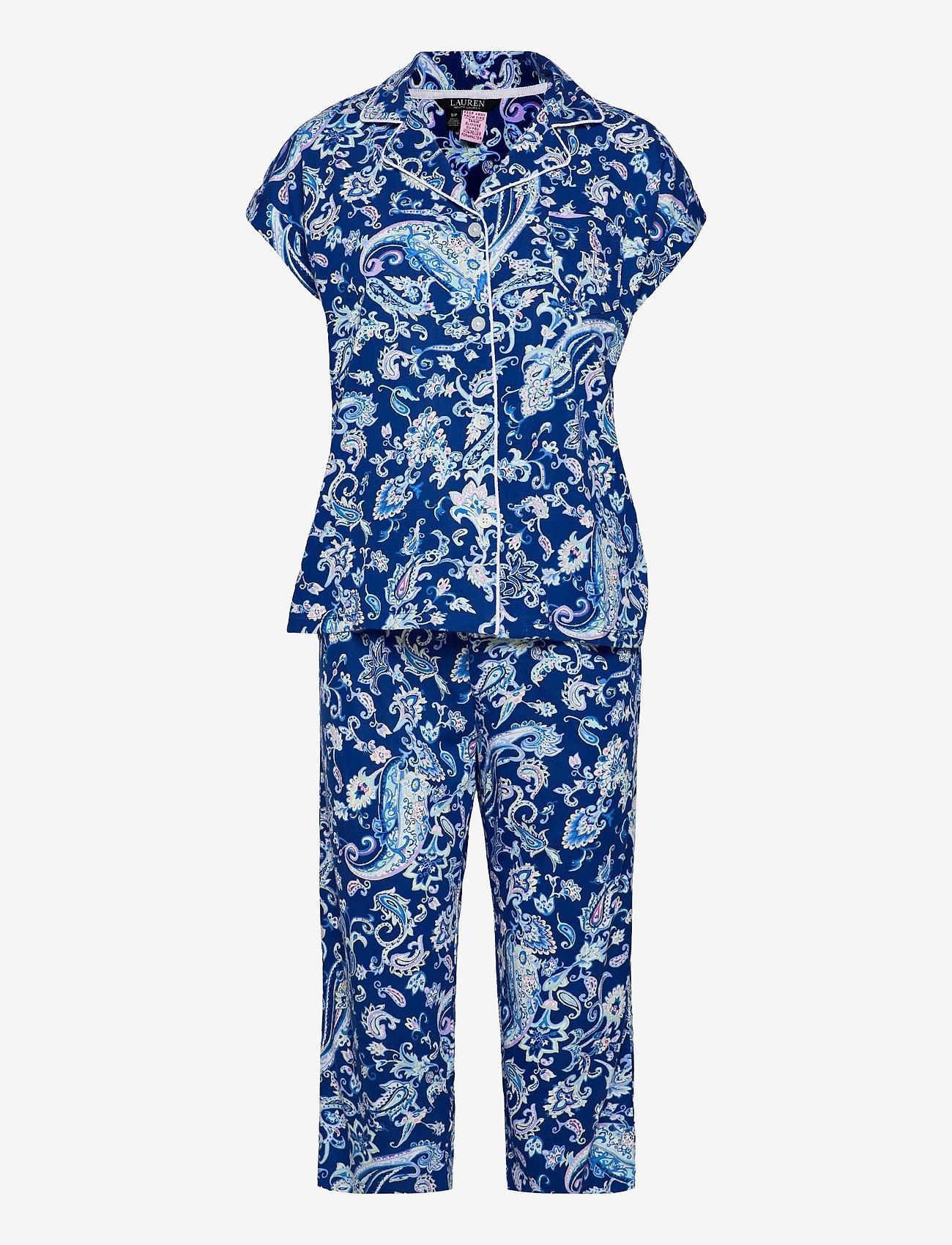 Lauren Ralph Lauren Homewear - LRL NOTCH COLLAR CAPRI PJ SET DOLMAN SL - pyjamas - blue paisley - 0