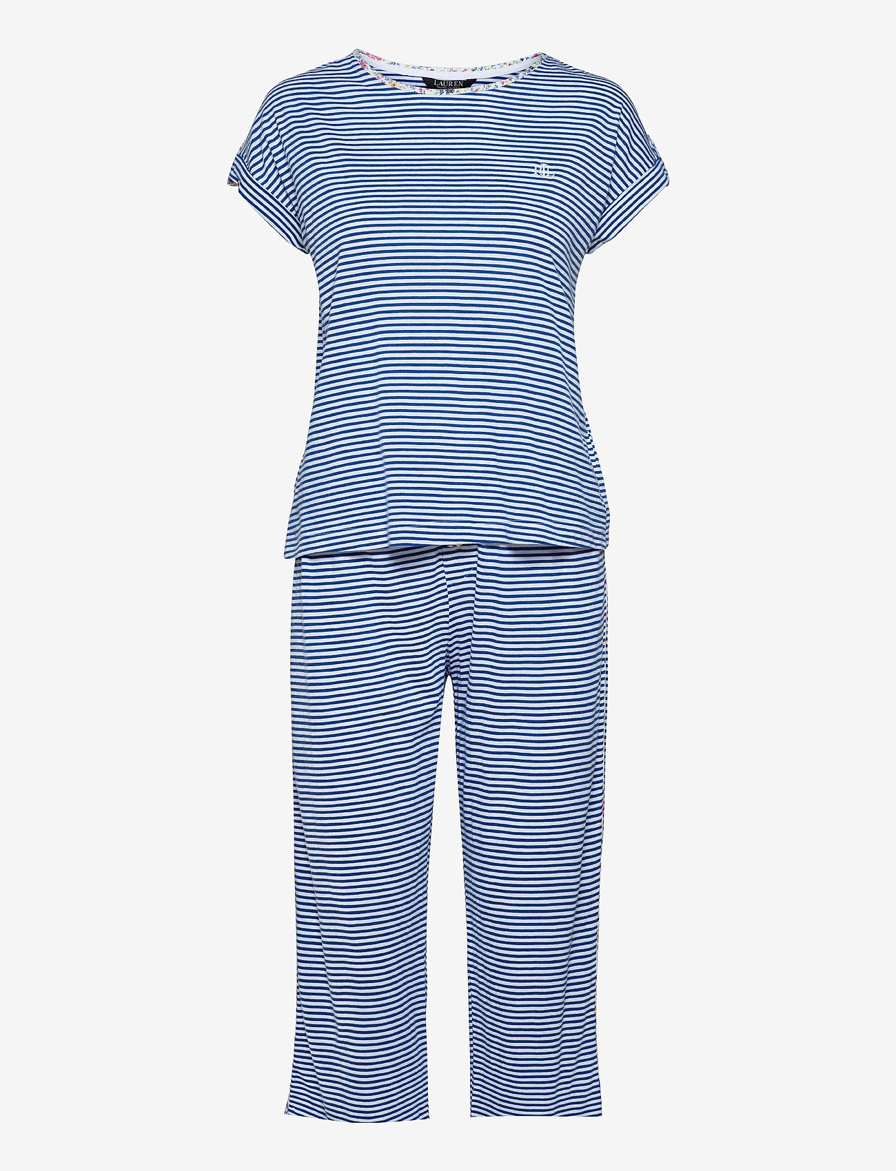 Lauren Ralph Lauren Homewear - LRL ROLL CUFF CAPRI PJ SET S/SL - pyjamas - blue stripe - 0