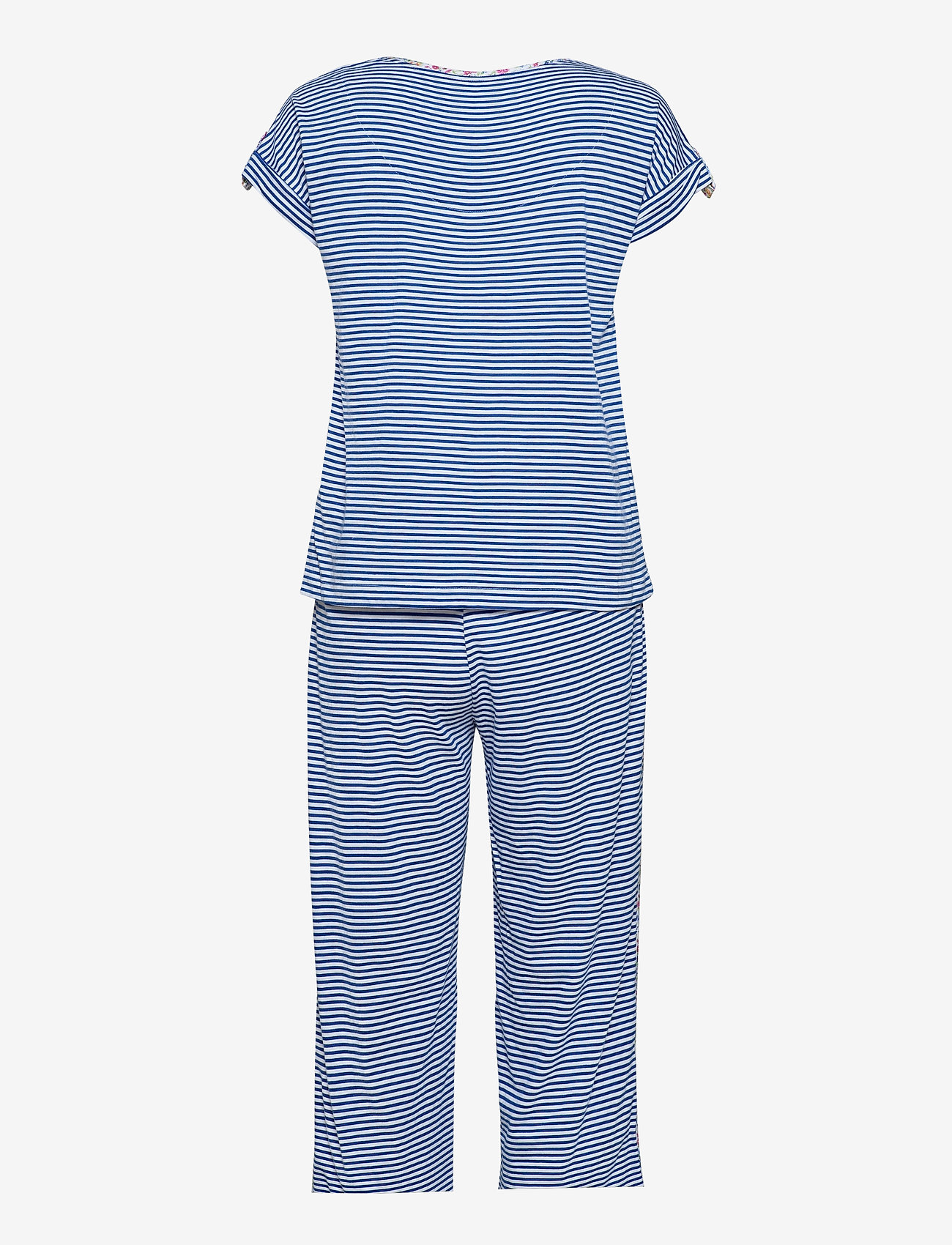 Lauren Ralph Lauren Homewear - LRL ROLL CUFF CAPRI PJ SET S/SL - pyjamas - blue stripe - 1