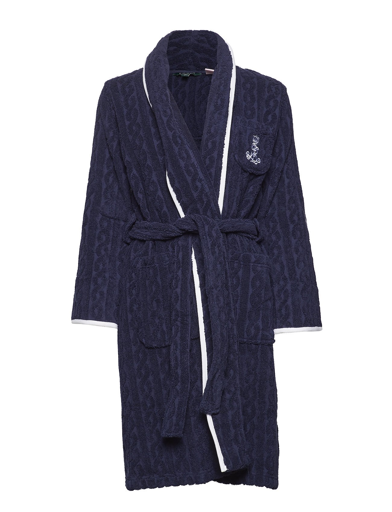 Lauren Ralph Lauren Homewear LRL CABLE TERRY SHAWL COLLAR ROBE - NAVY