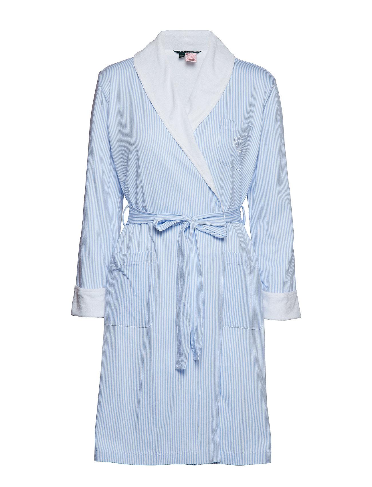 Lauren Ralph Lauren Homewear LRL ESSENTIAL SHORT SHAWL COLLAR ROBE - PALE BLUE STRIPE