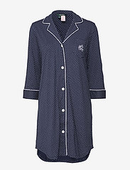 Lauren Ralph Lauren Homewear - LRL HERITAGE 3/4 SL CLASSIC NOTCH SLEEPS - nachtjurken - windsor navy/white dot - 0