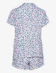 Lauren Ralph Lauren Homewear - LRL NOTCH COLLAR PJ BOXER SET S/SL - pyjamas - white/blue - 1