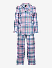 Lauren Ralph Lauren Homewear - LRL   NOTCH COLLAR LONG PANT PJ SET - pyjamas - pink plaid - 0