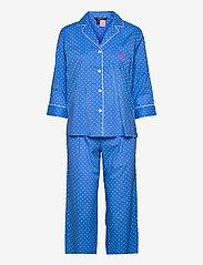 Lauren Ralph Lauren Homewear - LRL NOTCH COLLAR PJ SET 3/4 SL - pyjamas - blue dot - 0