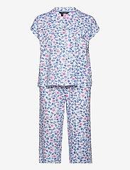 Lauren Ralph Lauren Homewear - LRL NOTCH COLLAR CAPRI PJ SET DOLMAN SL - pyjamas - white/blue - 0