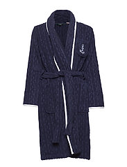 LRL CABLE TERRY SHAWL COLLAR ROBE - NAVY