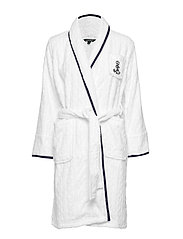 LRL CABLE TERRY SHAWL COLLAR ROBE - WHITE