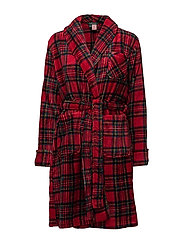 LRL GILDED AGE COLLAR SOFT ROBE - RED PLAID