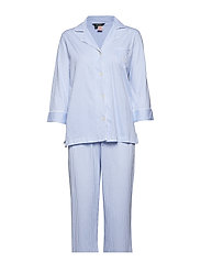 LRL HERITAGE 3/4 SL CLASSIC NOTCH PJ SET - FRENCH BLUE/WHITE STRIPE