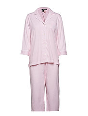 LRL HERITAGE 3/4 SL CLASSIC NOTCH PJ SET - PALE PINK STRIPE