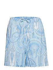 LRL NOTCH COLLAR BOXER PJ SET SHORT SL. - BLUE PRINT