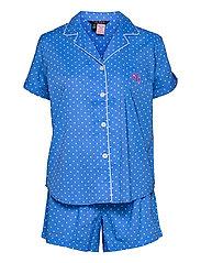 LRL NOTCH COLLAR PJ BOXER SET S/SL - BLUE DOT