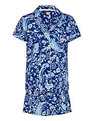 LRL NOTCH COLLAR PJ BOXER SET S/SL - BLUE PAISLEY