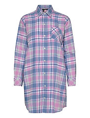 LRL  HIS SHIRT  SLEEPSHIRT - PINK PLAID