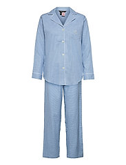 LRL   NOTCH COLLAR LONG PANT PJ SET - BLUE/WHITE