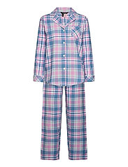 LRL   NOTCH COLLAR LONG PANT PJ SET - PINK PLAID