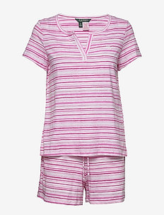 LRL SJORT SL. SPLIT NECKLINE BOXER PJ - pyjama's - pink stripe