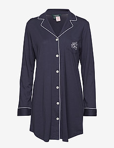 LRL HAMMOND KNIT COLLAR SLEEPSHIRT - NAVY WINDSOR