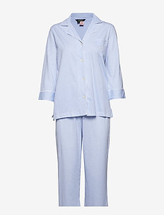 LRL HERITAGE 3/4 SL CLASSIC NOTCH PJ SET - pyjamas - french blue/white stripe