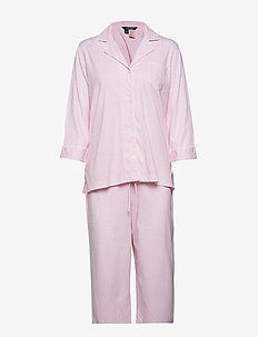 LRL HERITAGE 3/4 SL CLASSIC NOTCH PJ SET - pyjamas - pale pink stripe