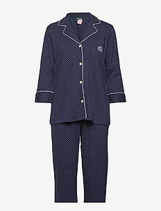 LRL HERITAGE 3/4 SL CLASSIC NOTCH PJ SET - pyjamas - windsor navy/white dot