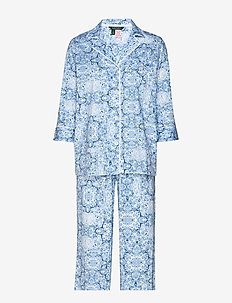 LRL NOTCH COLLAR L/S PANT PJ SET - pyjamas - blue print