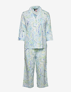 LRL 3/4 SL. NOTCH COLLAR CAPRI PJ SET - pyjamas - turquoise/print