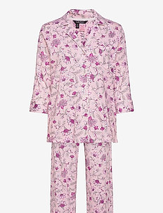 LRL 3/4 SL. NOTCH COLLAR LONG PANT PJ - pyjamas - pink floral