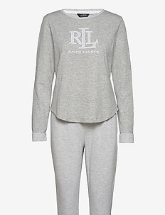 LRL L/S SCOOP JOGGER PANT PJ SET - pyjamas - grey htr stripe
