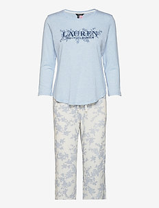 LRL 3/4 SL. SCOOP LONG PANT PJ - pyjamas - ivory floral