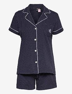LRL NOTCH COLLAR BOXER PJ SET SSL - pyjama''s - windsor navy/white dot