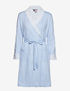 LRL ESSENTIAL SHORT SHAWL COLLAR ROBE - PALE BLUE STRIPE