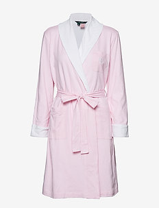 LRL ESSENTIAL SHORT SHAWL COLLAR ROBE - PALE PINK STRIPE