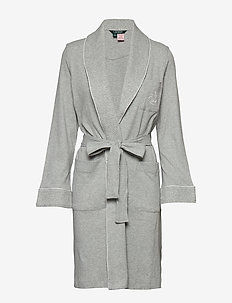 LRL ESSENTIAL QUILTED COLLAR ROBE - morgenkåper - grey heather