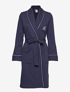 LRL ESSENTIAL QUILTED COLLAR ROBE - NAVY WINDSOR