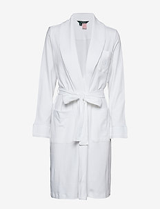LRL ESSENTIAL QUILTED COLLAR ROBE - bedrok - white