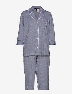 LRL HERITAGE 3/4 SL CLASSIC NOTCH PJ SET - WINDSOR NAVY/WHITE STRIPE