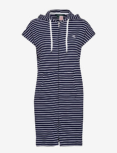 LRL HOODED LOUNGER ZIP FRONT - NAVY STRIPE
