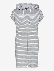 LRL DROP SHOULDER HOODED ZIP LOUNGER - natkjoler - grey stripe